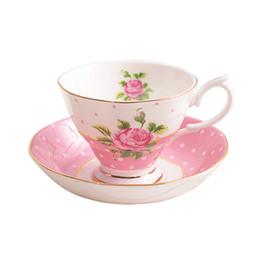 Conjunto de chá de porcelana europeia on-line-Conjunto De Chávena De Café De Estilo Europeu, Conjunto De Chá Da Tarde, Casa Chávena De Chá, Bone China Chá De Chá Preto, presente De Casamento