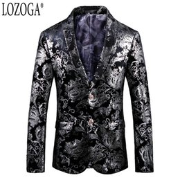 velvet jackets Coupons - Lozoga Blazer Men Luxury Designs Mens Blazers Fashion Slim Fit Suit Jackets Velvet Party Wedding Stage Prom Toastmaster For Man
