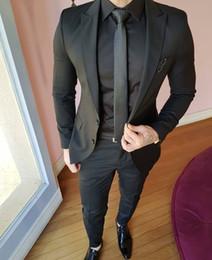 22f1621fcdee8 Trajes de hombre negro Chaquetas Ocio Boda Tuxedos Por encargo Para hombre  Fiesta formal Novios de negocios Traje Blzaers Slim Fit de una pieza traje  de ...
