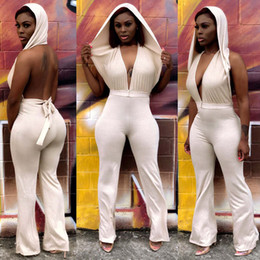 mulheres do bodysuit do laço da luva cheia Desconto Mulheres Halter Backless Bandage macacão macacões Um Pedaço Pants BODYCON atadura Roupas Para Mulheres Sólidos Romper a cores