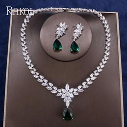 collar de piedras semipreciosas verde Rebajas RAKOL Moda de Lujo Gotas de Agua CZ Crystal Doble capas Zircon Marquise Collar de Boda Pendientes Conjunto de Joyas Para Mujeres Partido