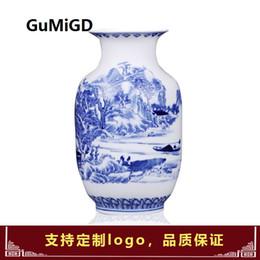 cerámica antigua Rebajas Jingdezhen Cerámica Florero de porcelana de paisaje azul y blanco antiguo de estilo chino, marco antiguo Bo y adornos de porcelana
