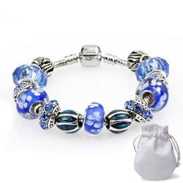 2019 bijoux en diamant bleu Diamant Vintage Charme Bracelets Fit Pandora Bleu Perles De Cristal De Verre De Murano Argent Femmes De Luxe Serpent Chaîne Bijoux Anniversaire Cadeau P57 bijoux en diamant bleu pas cher