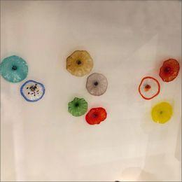 Meer glas wand dekor online-Mittelmeer Hand geblasenem Glas Blumen-Platten Hotel Gallery-Dekor-Kunst-Blumen-Kronleuchter Hand geblasenem Glas Blumen-Wand-Kunst-Platten aus