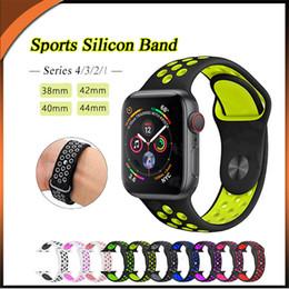 2019 correa de reloj de manzana 42mm 38MM 42MM 40MM 44MM Nueva banda de deportes de silicona transpirable para Apple Watch 4 3 2 1 serie bandas de caucho rebajas correa de reloj de manzana 42mm