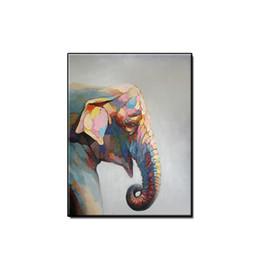 Moderne cornici acriliche online-Animali astratti moderni arte della parete home decor Dipinto a mano acrilico Pittura a olio astratta testa di elefante su tela per soggiorno senza cornice