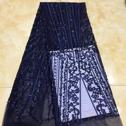 2020 multicolore tessuto di sequin Navy Blue colori Sequenza Pizzo Tessuto Paillettes francese tessuti di alta qualità Tulle francese nigeriano abito del merletto di Applique sconti multicolore tessuto di sequin