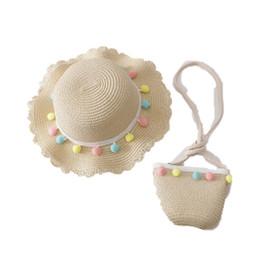 sacs d'été mignons Promotion Chapeaux de concepteur d'été enfants + sac d'enfants 2pcs / set d'adorables chapeaux d'enfants filles de princesse Chapeau de paille filles Bucket Hat + sacs à main costumes de plage A6214