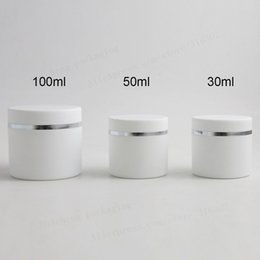 doppelwandiges kosmetikglas Rabatt 12 X 30g 50g 100g Traveel PP wußte Doppelwand bereift Creme Kosmetikdose Behälter Flaschen 1 Unze für die Weißen Kosmetikverpackungen