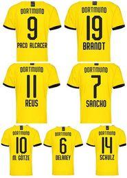 Camisas de futebol de qualidade eua on-line-19-20 futebol personalizado Haaland 17 Thai Qualidade de Futebol Reus 11 Sancho 7 Paco Alcácer 9 Brandt 19 M.Götze 10 Schulz personalizado usa
