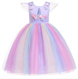1 unids 2019 Flower Girls Unicorn Appliqued Princess Dress Rainbow Ruffle Vestidos Niños Pascua Cosplay disfraces Ropa niños boutique desde fabricantes