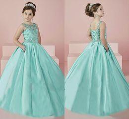 Flores de tul bling online-Bling Beads Girls Pageant Vestidos Mint Green Sequins Tulle Crystal Flower Girl Dress Vestido de gala Chicas Tutu formal Vestido de fiesta para adolescentes