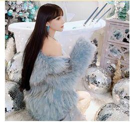 casacos acolchoados para mulheres longas Desconto casaco de pele falso novo design das mulheres hortelã cor azul manga longa quente espessamento de algodão acolchoado forro de capuz Casacos XS S M L XL