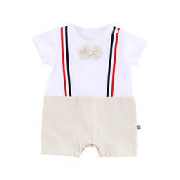 a5d4bb182ee44 Ins bébé garçon vêtements coton noeud papillon garçon barboteuses été  manches courtes bébé barboteuse nouveau-né barboteuse infantile One Piece  vêtements ...