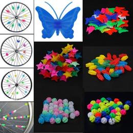Decoraciones de estrellas de plástico online-36 Unids Bike Spoke Plastic Stars Beads Ornament Multicolor Moto Car Hub Decoración Accesorio
