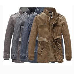 18863f08173 2019 chaqueta de cuero forrada Invierno para hombre abrigos de piel  sintética PU chaqueta con cinturón