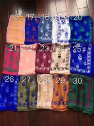 Pashmina satin schals online-Markendesigner Schädelschal für Frauen und Männer Beste Qualität 100% pur Seidensatin Art und Weise Frauen Luxusmarke Schal Pashmina-Schal