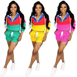 yoga summer shorts Coupons - Brand Designer women shorts tracksuit long sleeve hooded shirt 2 piece set outfits sportswear summer clothes Embroidery sports suit