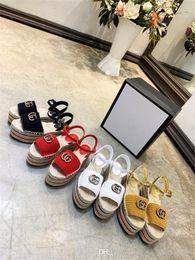 Suela de tela sandalias online-Alpargata de plataforma de cuero con tacón alto para mujeres clásicas, sandalias con cuña y suela de tela tejida Fashion Lady Beach talla 35-41