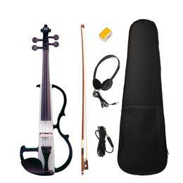 2019 partes de violino usadas Violino elétrico Full Size 4/4 Silencioso Violino Elétrico de Madeira Maciça W / Bow Caso Cabo de fone de ouvido Rosin Novo conjunto