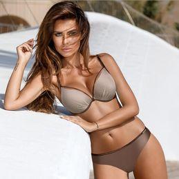 Gelber maschenbikini online-Mesh Stahlplatte sammelt Badeanzug Bikini Set gelb Bikini Set Lady schnell trocknende Bademode Outdoor Beachwear Mode Badeanzug