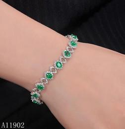 suportes de tv Desconto KJJEAXCMY fine jewelry 925 prata esterlina embutidos gemstone natural esmeralda senhoras pulseira apoio inspeção