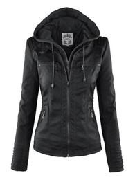 manteaux d'hiver gothiques Promotion Gothique Faux En Cuir Veste Femmes Hoodies Hiver Automne Moto Veste Noir Survêtement Faux En Cuir PU Manteau CHAUD