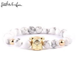 2019 bracciali bulldog WML Cute Animal Bulldog braccialetto di fascino di lusso donne bracciali braccialetti di pietra bianca perline braccialetto per gioielli da uomo bracciali bulldog economici