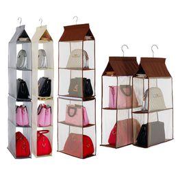 perchas de mochila Rebajas Organizador plegable plegable Mochila Bolso Bolsas de almacenamiento Zapatos colgantes Bolsa de almacenamiento High Home Supply 4 Pocket Separable Closet Rack Hanger