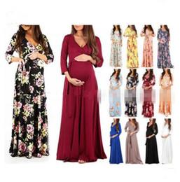 Wholesale Femmes Robe De Maternité Prop Vêtements De Grossesse Élégant Robes De Soirée De Maternité Croix V cou Ceinture Robe Longue MMA1123