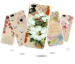 Estojos de silicone para envio gratuito de iphone on-line-Flor estampada case para iphone 6 6 s 7 plus capa de silicone macio floral capa protetora para iphone 5s se 8 plus frete grátis 2018 atacado