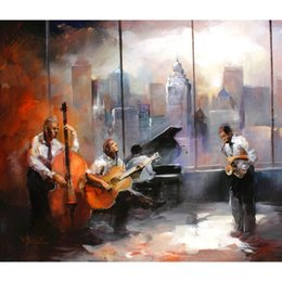 Dipinti jazz online-jazz musicroom view Oil paintings of Willem Haenraets hand painted modern art landscapes image High quality