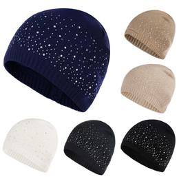 3a31ed038f8 Women Winter Autumn Hats Rhinestone Cotton Hat Cap Fashion Soft Knitted Hat  Female Point Dot Drill Skullies Beanies Cap