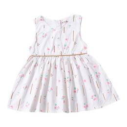 lindos vestidos de niñas pequeñas Rebajas Ins Cute Explosion Models Pastoral Style Pequeño vestido floral sin mangas para bebé niña Ptinting Baby Vest Princess Dress