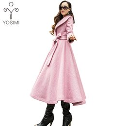 женщины пальто шерсть розовый элегантный Скидка YOSIMI 2017 Autumn Winter Skirt Woolen Coat High Quality Maxi Elegant Wool Long Women Coat Turn-down Collar  Clothing pink