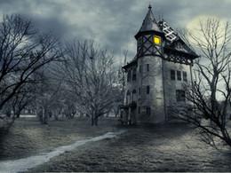8x8ft foto sullo sfondo Sconti Halloween Castle Night Photography fondali Haunted House Trees Photo Booth Sfondi per bambini Birthday Party Studio Puntelli