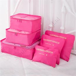 Sacolas de viagem de terno on-line-Saco de armazenamento 6 Piece Suit zíper duplo Protable Viagem Vestuário roupa sacos de bagagem Sundries organizer pacote Bags Sólidos E11304 Cor