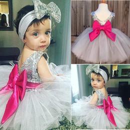 2019 3t vestidos de bautismo de niña Niñas Princesa Fiesta de cumpleaños Bautizo Bautizo Vestido blanco Diadema 2 piezas rebajas 3t vestidos de bautismo de niña