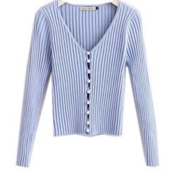 Новые стильные свитера онлайн-2019 весна новый стильный вязание один жемчуг кардиган свитер женщина глубокий V-образным вырезом с длинным рукавом перемычка моды