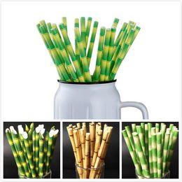 2019 pajitas de papel Papel de bambú biodegradable Pajita Pajitas de bambú Respetuoso del medio ambiente 25Pcs mucho Uso de fiesta Pajitas de bambú Paja desechable en la promoción pajitas de papel baratos