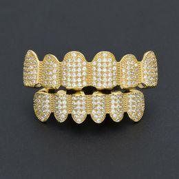 grillz de oro blanco Rebajas HipHop Rock Gold Rosegold White Zircon Teeth Grillz New Arrive Cobre Braces en la parte inferior superior Grillz Para Hombre Mujer Oro, plata opcional