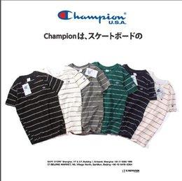 T shirt homme hong kong en Ligne-Unisexe marque champion de broderie C rayures japonaises style Hong Kong hommes t-shirt en coton quelques manches courtes T-shirts décontractés Tops Tee