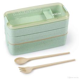 2019 japão saco de plástico Eco-friendly 3 Camada Bento Lunch Box - Refeição Prep Contentores para adultos dos miúdos 3-em-1 Compartimento de palha de trigo Leakproof Microondas Louça