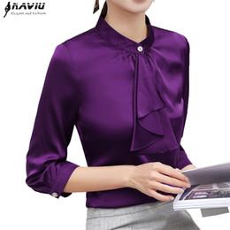 Blusas de la blusa formal online-2019 Primavera Elegante camisa con volantes mujer moda ropa delgado media manga de gasa blusa para mujer ropa de trabajo más tamaño tops