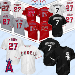 Jerseys de trucha online-Chicago White 7 Tim Anderson Sox 27 Mike Trout 17 Shohei Ohtani Los Angeles Jerseys Angels Baseball Jersey 2019 nuevo