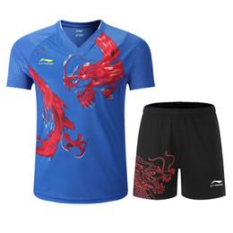 Roupas de badminton on-line-Novo Li Ning Badminton Roupas para Homens e Mulheres: Badminton T-shirt + shorts, secagem rápida respirável tênis de mesa T-shirt com dragão chinês