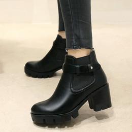eed41a506f75a6 2019 bottes noires chaussures marron Plateforme Bottes Rétro Femmes  Bottines Blocs Bottines À Talons Hauts Confortable
