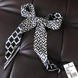2020 nastro geometrico Sciarpa geometrica di moda donna snella stretta borsa sciarpa di seta doppia doppia faccia stampa twill di raso piccolo nastro