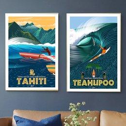 pinturas al óleo italianas Rebajas Surf en Tahití Vacaciones Pop Art Viajes Lienzo Pintura Vintage Wall Kraft Carteles Recubiertos Etiqueta de la pared Decoración para el hogar Imagen Regalo
