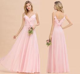 Immagini di nozze rosa online-Immagini reali Blush Pink Chiffon Abiti da damigella d'onore Elegante spaghetti A-line Abito da sposa per invitati Plus Size Abito da spettacolo formale per feste BM0784